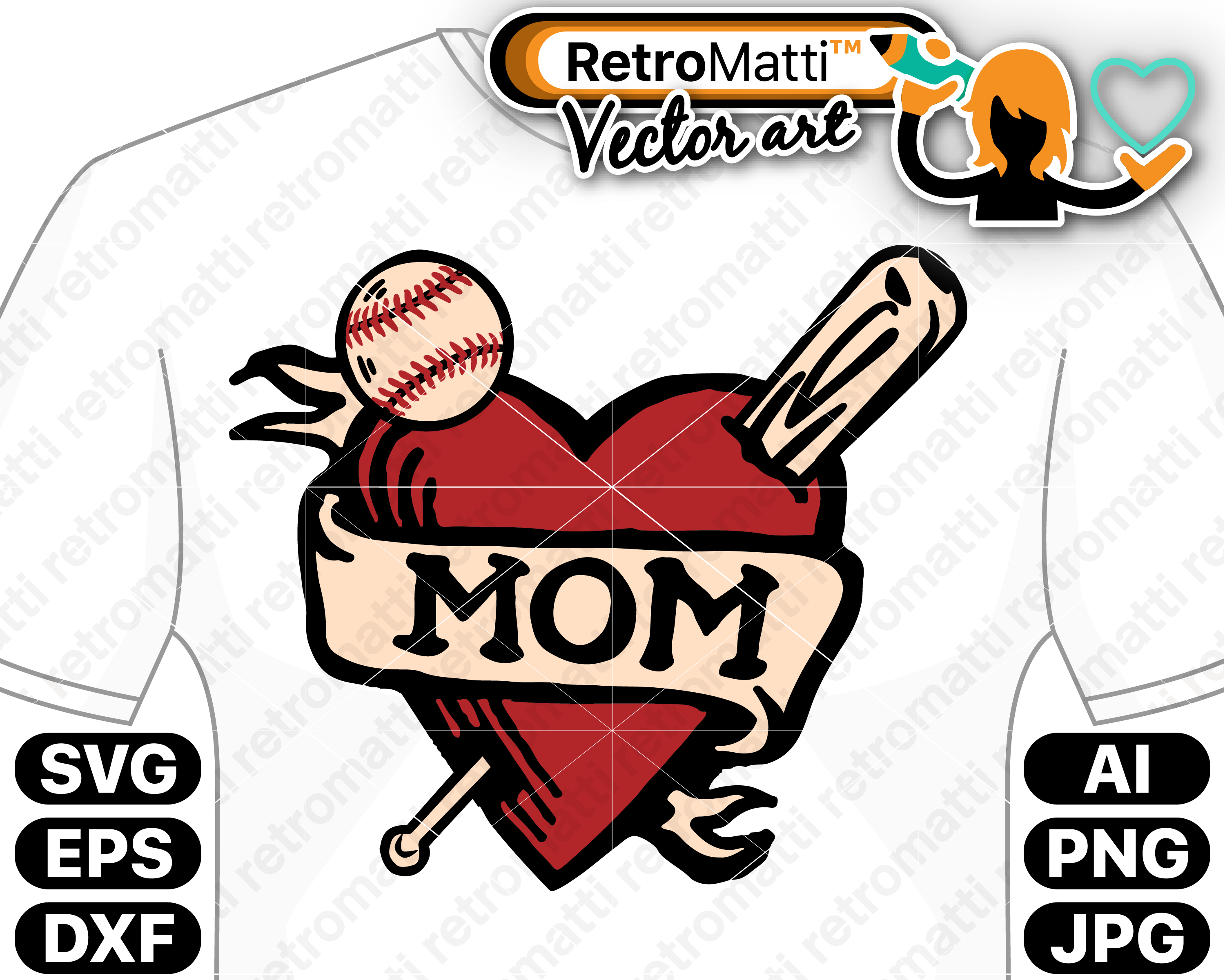 Baseball Mom Shirt Tattoo 2 Retro Design Svg Retromatti Made And Designed In Canada